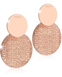 Rebecca - R-zero Rose Gold Over Bronze Drop Earrings - Lyst