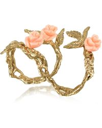 Bernard Delettrez - Two Fingers Leafy Bronze Ring W/3 Pink Resin Roses - Lyst