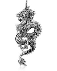 Thomas Sabo - Blackened Sterling Silver Dragon Pendant W/black Cubic Zirconia - Lyst