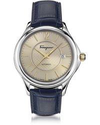 Ferragamo - Round Stainless Steel Leather Strap Watch - Lyst