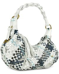 0c184321a534b Fontanelli - Blue   White Woven Leather East west Hobo Bag - Lyst