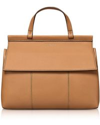 Tory Burch - Block-t British Tan Leather Top Handle Satchel Bag - Lyst
