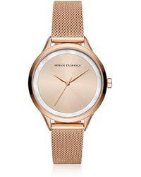 Armani Exchange - Aix Rose Tone Women's Watch - Lyst