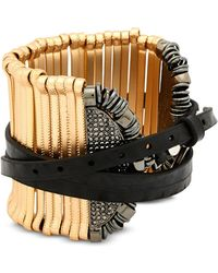 FEDERICA TOSI - Stick Leather And Metal Bangle - Lyst