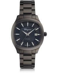 Ferragamo - Ferragamo Time Gun Ip Stainless Steel Men's Automatic Watch W/blue Guilloche' Dial - Lyst