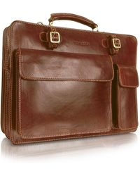 Chiarugi - Handmade Brown Genuine Leather Double Gusset Briefcase - Lyst