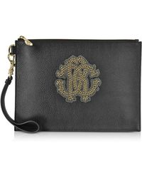 Roberto Cavalli - Black Leather Unisex Zip Clutch W/gold Studs Rc Logo - Lyst
