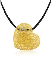 Orlando Orlandini - Arianna - Diamond Heart Pendant W/velvet Lace - Lyst