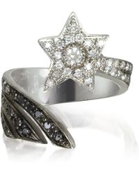 Bernard Delettrez - Shooting Star 18k White Gold Midi Ring W/white Grey And Black Diamonds - Lyst