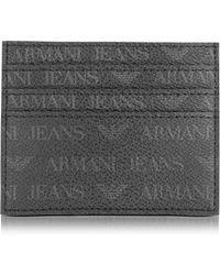 Armani Jeans - Black Signature Eco Leather Men's Card Holder - Lyst