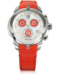 Tonino Lamborghini - Shield Lady Silver Tone Stainless Steel And Red Croco Print Leather Chronograph Watch - Lyst