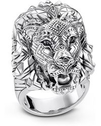 Thomas Sabo - Blackened Sterling Silver Lion Ring W/black Zirconia Pavè - Lyst