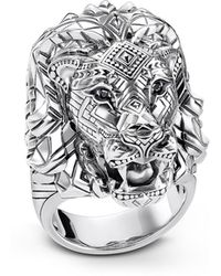 Thomas Sabo - Blackened Sterling Silver Lion Ring W/black Zirconia Pavè - Lyst