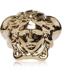 Versace Light Gold Metal Medusa Ring - Mettallic