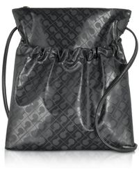 Gherardini - Signature Coated Canvas And Leather Softy Crossbody Bag - Lyst