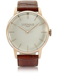 LOCMAN - 1960 Rose Gold Pvd Stainlees Steel Men's Watch W/brown Croco Leather Strap - Lyst