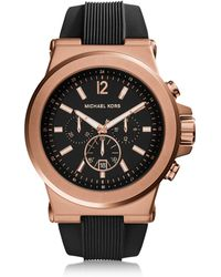Michael Kors - Dylan Rose Gold Tone Stainless Steel Case and Black Silicone Strap Men's Crono Watch - Lyst