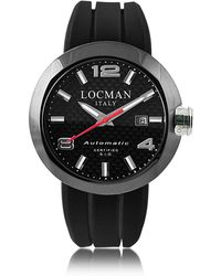 LOCMAN - One Automatico Black Pvd Stainless Steel Men's Watch W/leather And Silicone Band Set - Lyst
