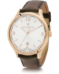 4dd209ff5737 Maserati - Attrazione Gold Tone Stainless Steel Case And Brown Leather Strap  Men s Crono Watch -