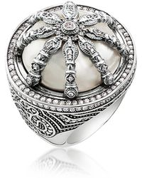Thomas Sabo | Blackened Sterling Silver & Mother Of Pearl Ring W/white Cubic Zirconia | Lyst