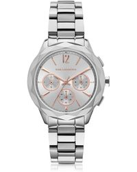 Karl Lagerfeld - Optik Stainless Steel Women's Chronograph Watch - Lyst