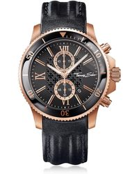 Thomas Sabo - Rebel Race Rose Gold Stainless Steel Men's Chronograph Watch W/black Leather Strap - Lyst