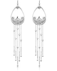 Thomas Sabo - Sterling Silver Paisley Extra Long Pendant Earrings W/ White Zirconia - Lyst