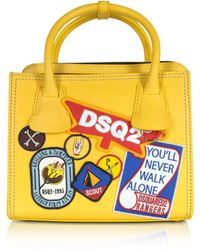 DSquared² - Deana Small Yellow Leather Satchel W/patches - Lyst