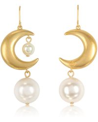 Tory Burch - Rolled Brass Celestial Pearl Earrings - Lyst