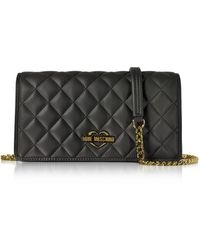 Love Moschino - Black Superquilted Eco-leather Clutch W/shoulder Strap - Lyst