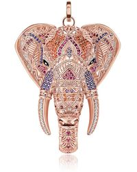 Thomas Sabo - Rose Gold Plated Sterling Elephant Pendant W/pink Zirconia - Lyst