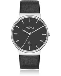 Skagen - Ancher Black Leather Men's Watch - Lyst