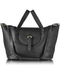meli melo Black Leather Thela Medium Tote Bag
