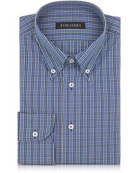 FORZIERI - Blue And Yellow Plaid Cotton Slim Fit Men's Shirt - Lyst