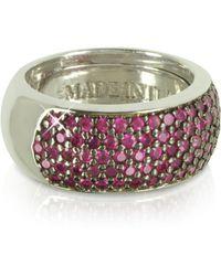 Azhar Red Cubic Zirconia Silver Vermeil Ring