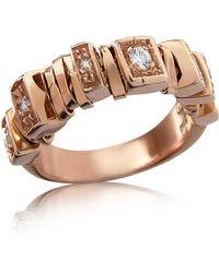 Orlando Orlandini - Sole - Diamond 18k Rose Gold Band Ring - Lyst