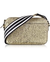 RED Valentino - Platinum Crackled Metallic Leather Crossbody Bag W/striped Canvas Strap - Lyst