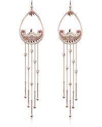 Thomas Sabo - Rose Gold Plated Sterling Silver Paisley Extra Long Pendant Earrings W/ White Zirconia - Lyst