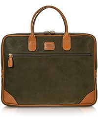 Bric's - Life Medium Olive Green Micro Suede Laptop Attache - Lyst