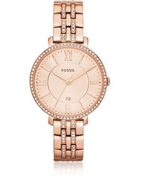 Fossil - Jacqueline Rose Tone Stainless Steel Women's Watch - Lyst