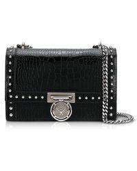 Balmain | B.box 25 Black Croco Print Leather Flap Bag W/studs | Lyst