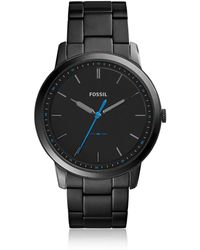 Fossil - The Minimalist Slim Three-hand Black Stainless Steel Men's Watch - Lyst