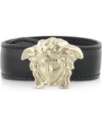 Versace - Black Leather Bracelet W/light Gold Metal Medusa - Lyst