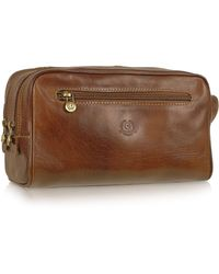 Chiarugi - Handmade Brown Genuine Italian Leather Toiletry Travel Kit - Lyst