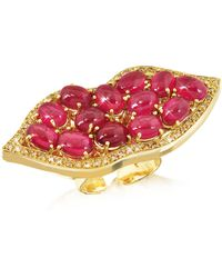 Bernard Delettrez - Big Mouth W/cabochon Rubies Gold Ring - Lyst