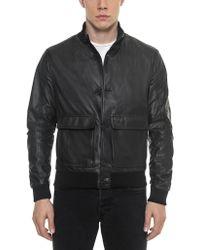 FORZIERI - Black Leather Men's Bomber Jacket - Lyst