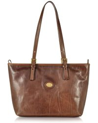 The Bridge - Brown Leather Tote - Lyst