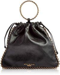 Balmain Black Leather B-Link Bracelet Backpack - Noir