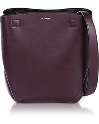 Jil Sander - Dark Purple Leather Bucket Bag - Lyst