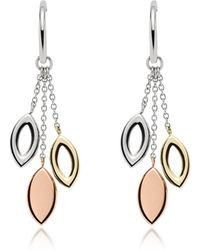 Fossil - Tri-tone Navette Drop Earrings - Lyst